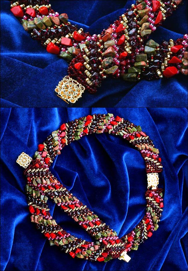 Эксклюзивные украшения из бисера и полудрагоценных камней :: Колье :: 527.