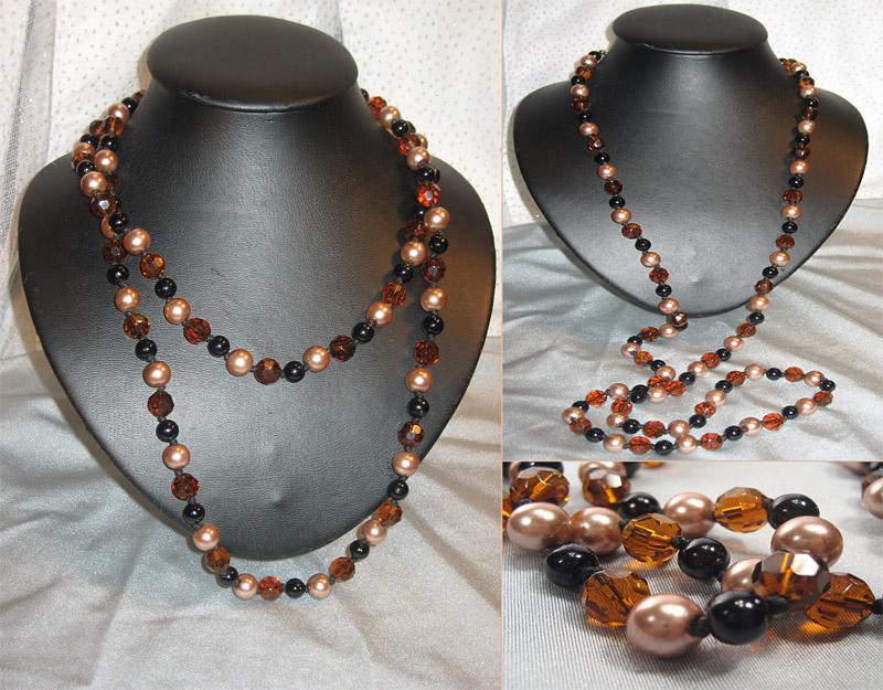 Эксклюзивные украшения из бисера и полудрагоценных камней :: Колье :: 787.  Бусы Агат, майорка, чешское стекло.
