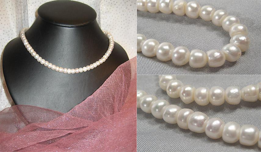 Эксклюзивные украшения из бисера и полудрагоценных камней :: Колье :: 786.  Бусы Белый жемчуг астр.