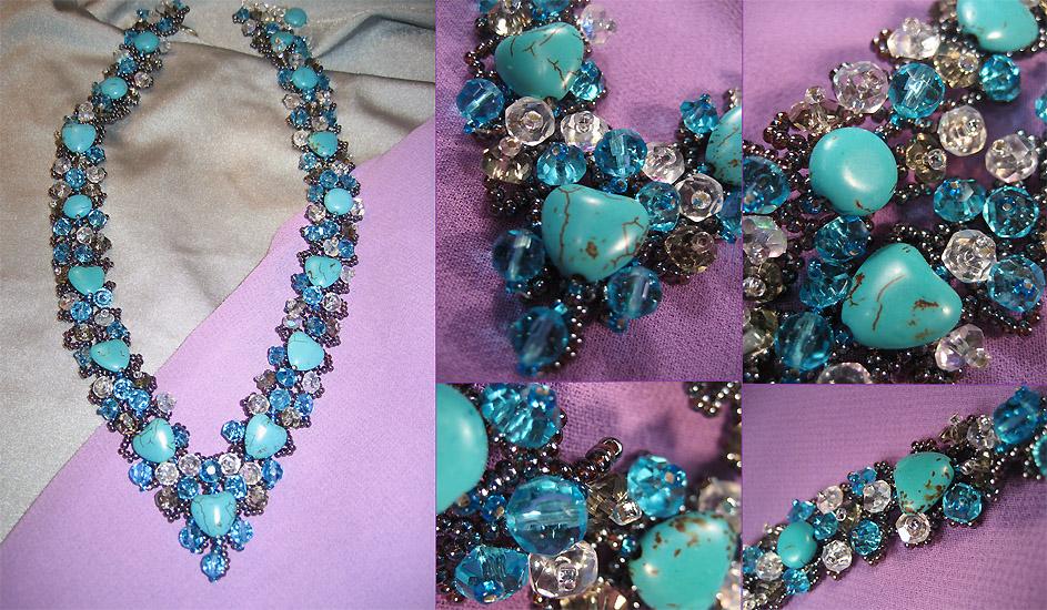 Эксклюзивные украшения из бисера и полудрагоценных камней :: Колье :: 550. .  Колье Лазурный берег.